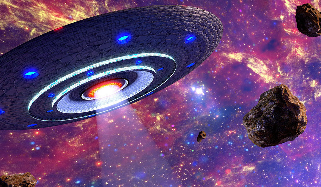 UFO with space backdrop