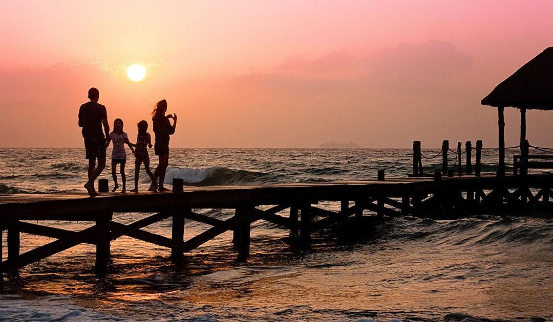 Family, beach & baboons